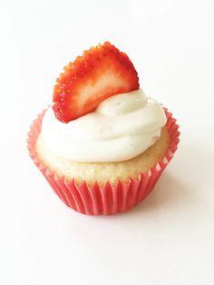 Skinny Strawberry Cream Cheese Cupcakes | The Skinny Fork