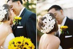 amazing headpiece handmade by the bride! // Images by Daniel J Photography Daniel J, Church Ceremony, Yellow Wedding, Wedding Veils, Wedding Inspiration, Wedding Ideas, Bridal Accessories, Bride, Headpieces