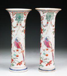 Pair Chinese Antique Famille Rose Porcelain Vases : Lot 87