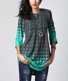 Charcoal & Aqua Dot Notch Neck Pin Tuck Tunic #zulily #zulilyfinds -- Drapes so nicely, looks comfy, great colors