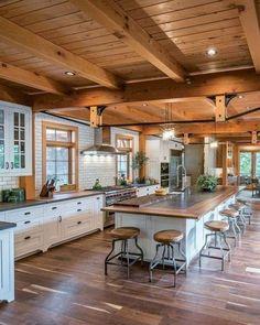 Rustic Kitchen Design, Interior Design Kitchen, Kitchen Layout Design, Best Kitchen Layout, Kitchen Layouts, Interior Plants, Interior Modern, Kitchen Designs, Sweet Home