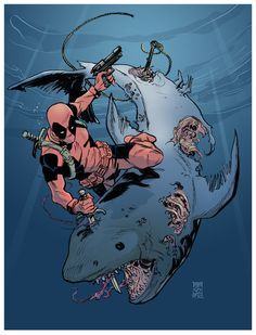 Deadpool vs. Zombie Shark by Dean Kotz