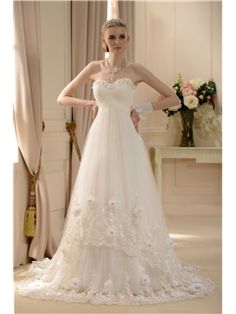 Melbourne Empire Newest Sweetheart Floor-length Court Lace Trimmed Wedding Dress(1195)