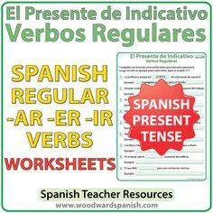 Worksheets for regular Spanish verbs in the simple present tense.  Actividades con verbos regulares en el presente de indicativo.