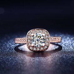 18K Rose Gold Plated Women Wedding Party Ring With Crystal AAA+ CZ Jewelry. Starting at $1