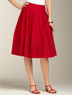 red skirt!!! <3 talbots (without the eyelet strip) - Pair with a nautical white and blue striped shirt and some nautical jewelry and it'd be so cute!