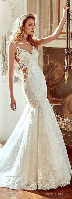 Nicole Spose Wedding Dress Collection 2017   Fitted lace bridal gown with sheer panels and sweetheart neckline #weddingdress #bridalgown #brides #weddings #bridal