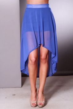 Royal Blue Chiffon Banded Waist High Low Hem Skirt