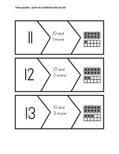 K.NBT.1 11-19 Puzzles (free download) Compose and decompose numbers from 11 to 19 into ten ones and some further ones