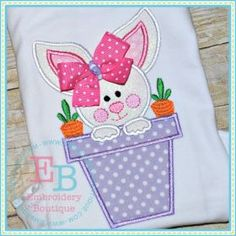 Items similar to Girls Bunny Applique Shirt or Bodysuit with Ribbon Bow Embellishment, Easter Bunny Shirt, Machine Appliqué, Personalized Embroidery on Etsy Machine Embroidery Projects, Machine Embroidery Applique, Applique Patterns, Applique Designs, Embroidery Boutique, Baby Shower, Bodysuit, Textiles, Easter Crafts