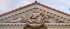 Villa Zeffiro south pediment: This composition has the original, though classical, theme of Aurora Painting the Sunrise. Photo Courtesy of Kurt Wenner. Featured in the fall 2015 issue of Santa Barbara Seasons Magazine. http://sbseasons.com/V2jl0 #sbseasons #sb #santabarbara #SBSeasonsMagazine #KurtWenner  To subscribe visit sbseasons.com/subscribe.html