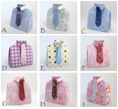 3-D Origami Shirt with Tie Favor Boxes  by PaperScissorsRocks @ Etshy