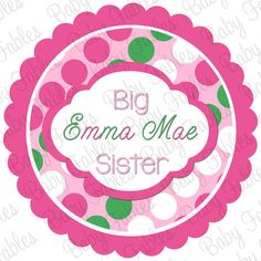 Little or Big Sister IRON ON Transfer  Pretty by babyfables, $5.00