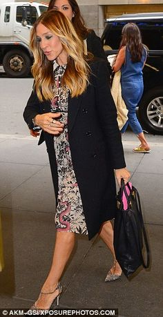 Effervescent: Stylist Erin Walsh put the actress in three outfits, including this frilly floral frock and SJP silver T-strap heels Erin Walsh, Floral Frocks, T Strap Heels, Sarah Jessica Parker, Old Actress, Carrie Bradshaw, Style And Grace, Nyc, Stylists