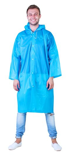Amazing Waterproof Rain Poncho: Reusable Non-disposable Raincoat with Drawstring Hood and Sleeves in a Blue color for Adults. Ideal for Travel Men and Women