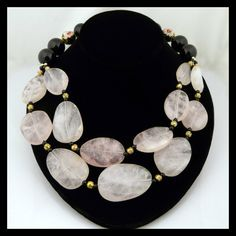 Handmade Sterling, Rose Quartz, Onyx and Cloisonne Necklace