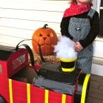 """Happy Halloween from Jax & I! My little man decided he wanted to be a """"choo choo"""" this year. He has since learned that he is actually an """"engineer"""". I love how his costu… Little Man, Happy Halloween, Kid Stuff, Children, Kids, Baby Strollers, Engineering, Amp, My Love"""