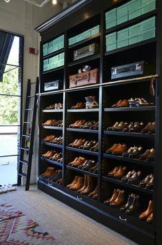That's a lot of shoes. closet, shoe racks