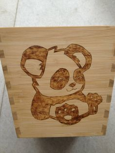 Pyrography Panda baby. Plants box - Panda theme - one side