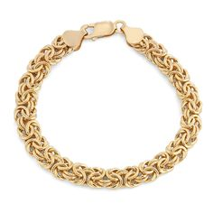 A gorgeous byzantine chain adds detail to this polished bracelet. Crafted of 14k yellow gold, this jewelry has a lobster claw clasp and stunning design.