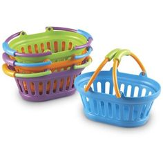 Grab a stack of freshly designed shopping baskets sized especially for little hands. Set of 4 in New Sprouts colors (orange green purple blue). Oval baskets measure x x Ages 2 Gender: Unisex. Learning Resources New Sprouts Stack of Baskets Grocery Basket, Dramatic Play Area, Girls Tea Party, Educational Toys For Toddlers, Toys R Us, Children's Toys, Catalogue, Pretend Play, Role Play