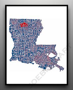 Love this! Louisiana Tech - Typography Map Art Print - Customized Louisiana Map Art Print. $20.00, via Etsy.