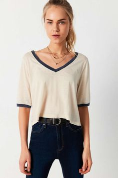 Mouchette Round The Bases V-Neck Ringer Tee - Urban Outfitters Grunge Outfits, Fashion Outfits, Fashion Styles, Fashion Trends, Teen Girl Outfits, Cute Outfits, Punk Pants, Urban Outfitters Clothes, American Eagle Outfits