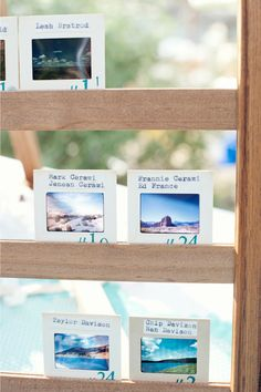 love the idea of photo slides as escort cards