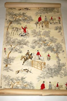 Antique Fox Hunting scene Wallpaper Thomas Strahan 6652