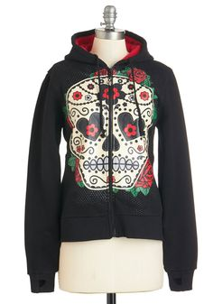 Lend Me Some Sugar Skull Hoodie. Show your edgy side a little love by sporting this black zip-up hoodie boasting a sugar skull screen print! #black #modcloth