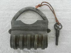 Old Iron Unique Shape Handcarfted Solid Screw System Padlock , Rich Patina