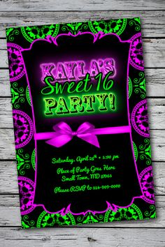Glow in the dark party. Elegant yet Fun, Sweet 16 Birthday Party Invitation.
