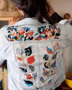 Embroidered denim by Trini Guzmán