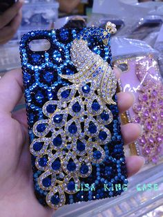 royal blue rhinestone peacock  iphone 4 case iphone 4s case iphone 5 case  samsung Galaxy S3 case bling cases samsung galaxy s4 bling case