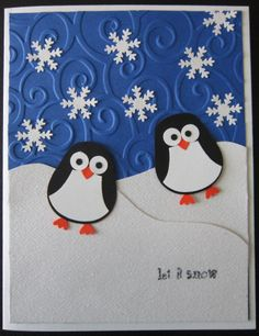 Penguin Christmas card - Stampin' Up Owl punch, snowflake punch, Cuttlebug embossing folder