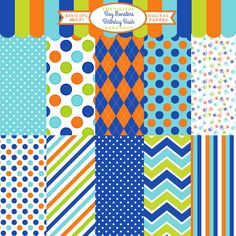 Boy Monsters Birthday Bash Papers - brightly colored papers for scrapbooking, card making, invitations and more.
