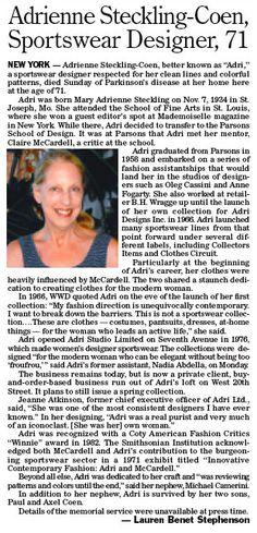Au Milieu des Années 60, Anne Fogarty Lance d'autres Labels comme A.F Boutique, Collector's Items, et Clothes Circuit, Dessiné en Partie par Adrienne Steckling en 1971-72
