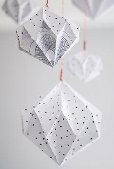 Origami Anhänger, Geometrisch, Schwarz und Weiss