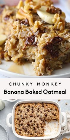 Delicious chunky monkey banana baked oatmeal packed with healthy fats from coconut and walnuts. This easy, healthy banana baked oatmeal recipe is freezer-friendly and naturally sweetened with bananas & pure maple syrup for the perfect breakfast! Add chocolate chips to make it extra special. #oatmeal #breakfast #brunch #glutenfree #bakedoatmeal #banana