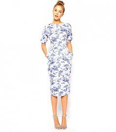 A pretty blue and white print // ASOS Wiggle Dress