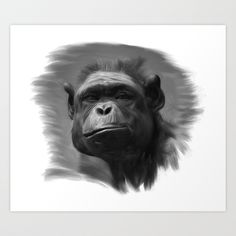 Thinking about the monkey Art Print by André Minored - $17.68
