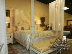 Lexington four poster carved bed in blonde. Full size.  Matching nightstand available at time of posting.