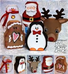 """My Scrap Chick Winter Paver Favor Boxes & Cards SVGs: look up """"Winter Paver… Painted Bricks Crafts, Brick Crafts, Painted Pavers, Stone Crafts, All Things Christmas, Winter Christmas, Christmas Projects, Holiday Crafts, Brick Art"""
