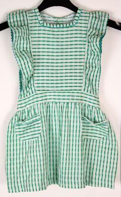 Vintage Girls Green Checked Cotton Pinafore Dress Ric Rac Pocket Trim Sash Waist Tie 1940s 1950s Size 2 3 by KittysVintageKitsch on Etsy