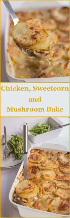 A nice, easy and delicious low cost family chicken sweetcorn and mushroom bake for when time is short. A nice, easy and delicious low cost family bake for when time is short with a French green beans side. Hot Cocoa Recipe, Cocoa Recipes, Hot Dog Recipes, Real Food Recipes, Chicken Recipes, Cooking Recipes, Healthy Recipes, Healthy Meals, Chicken Meals