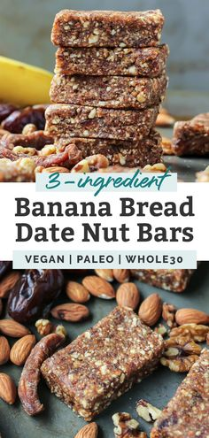 This quick and easy Banana Bread Energy Bar recipe with dried dates tastes ju. Banana Bread Easy Moist, Banana Nut Bread, Banana Bars, Date Nut Bread, Bread Bar, Fruit And Nut Bars, Dried Dates, Sheet Cake Recipes, Vegan Snacks