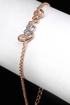 Silver & Co Rose Gold Plated Sterling Silver Love Bracelet