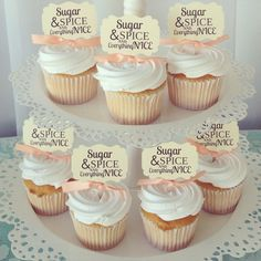 Baby Shower cupcake toppers, Sugar and Spice and Everything Nice by TimeLessThings on Etsy https://www.etsy.com/listing/236194054/baby-shower-cupcake-toppers-sugar-and