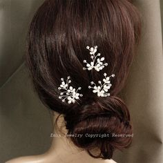 3 Bridal Hair Pin Set H002 Light Ivory Fresh Water Pearl