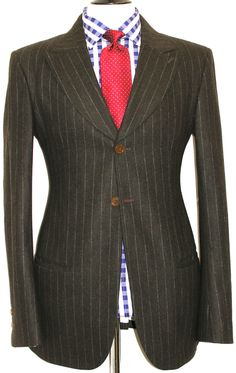 Vivienne Westwood Suit (Men's Pre-owned London Tailor-Made Chalkstripe Single Breasted Luxury Designer Suit)